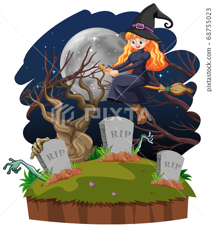 Witch with tomb cartoon style isolated on white 68755023