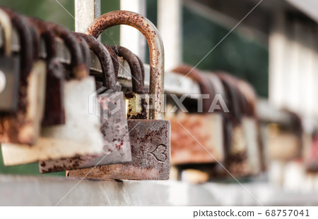old iron padlock close up 68757041