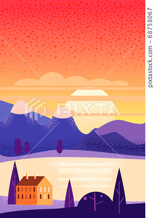 Summer landscape august month. Season banner for calendar pages cover baner poster. Minimal trendy style isolated vector 68758067