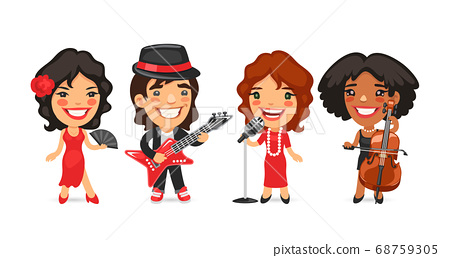 Cartoon Characters Musicians Dancer and Singer 68759305