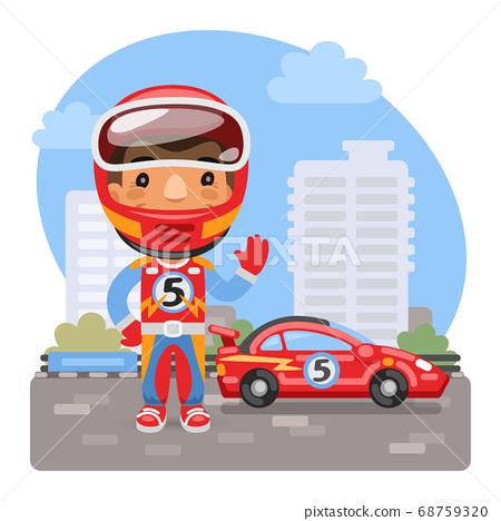 Cartoon Racer and Car 68759320