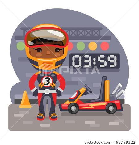 Cartoon Girl Racer and Go-Kart 68759322