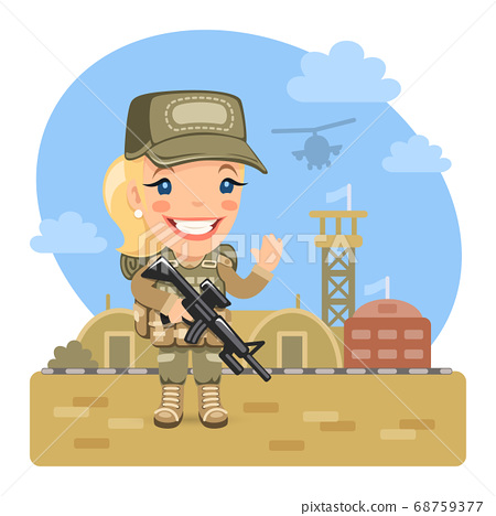 Cartoon Woman Soldier at the Military Base 68759377