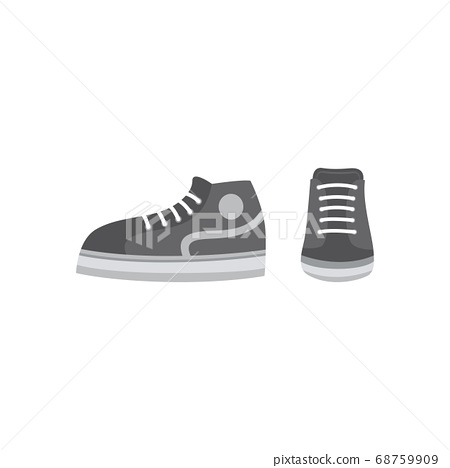 Grey cartoon pair of sneakers from front and side view isolated on white background. 68759909