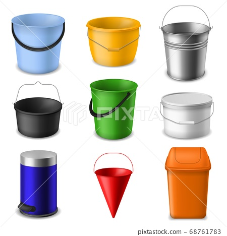 Realistic bucket. Metal and plastic empty round, cone and square buckets template with handle for water and garbage or garden, color 3d containers vector set 68761783