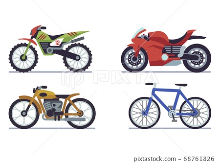 Set of vehicles. Racing motorcycles, sports mountain bike for road racing, speed race modern vehicle travel and sport flat vector motor transport 68761826