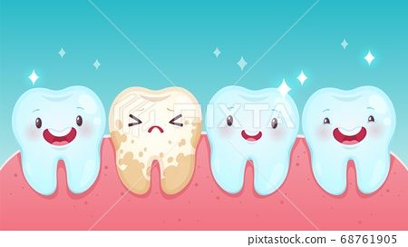 Bad tooth. Cartoon healthy white happy teeth and yellow spoiled sad tooth with smiling faces. Toothache problems, kids oral care children dentistry clinic, vector dental concept 68761905