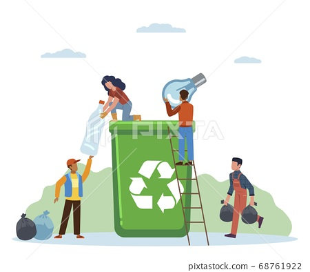 Garbage sorting. Small people throw litter in containers, women and man separate trash in can, pollution protect and ecology recycle concept flat vector cartoon isolated illustration 68761922