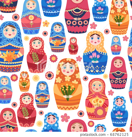 Russian doll pattern. Textile design with authentic russian floral decoration on female toys vector seamless background 68762125