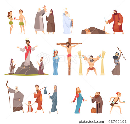Bible characters. Historical antique holy people vector illustrations collection 68762191