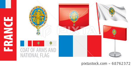 Vector set of the coat of arms and national flag of France 68762372