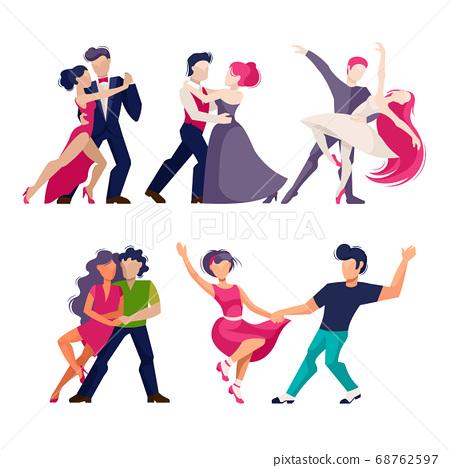 Cartoon Color Characters People Dancing Concept. Vector 68762597