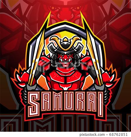 Samurai warrior esport mascot logo design 68762851