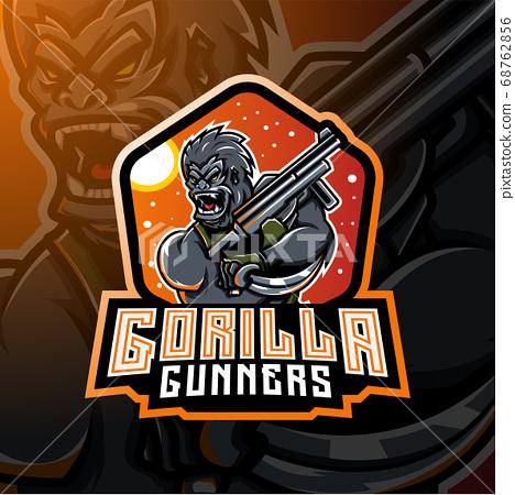 Gorilla gunners esport mascot logo design 68762856