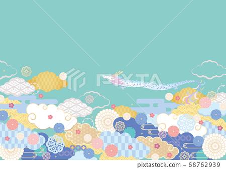 배경 소재 - 일본의 구름 무늬와 류진 68762939