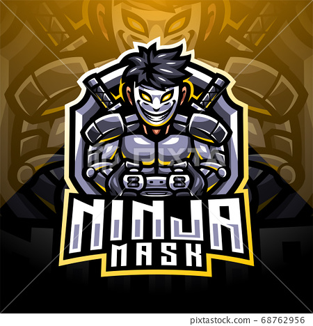 Ninja mask esport mascot logo design 68762956