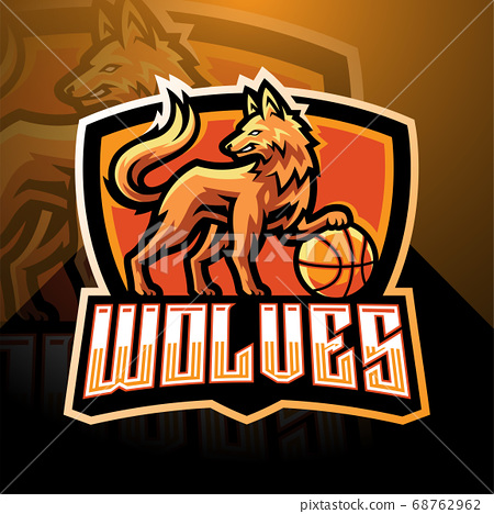 Wolves esport mascot logo design 68762962