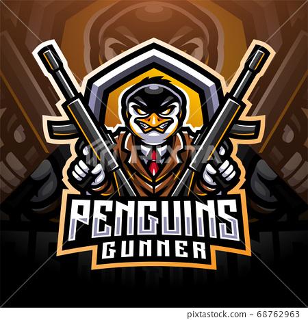 Penguin gunner esport mascot logo design 68762963