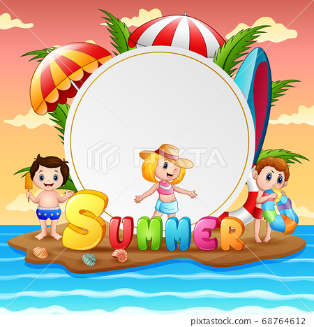 Summer vacation with happy children on island 68764612