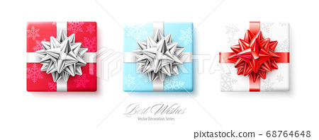 Set of gifts boxes with silver red bows and ribbons isolated on white background 68764648