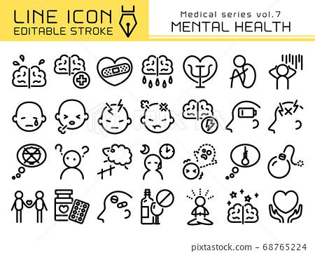 라인 아이콘 의료 시리즈 vol.7 정신 건강 68765224