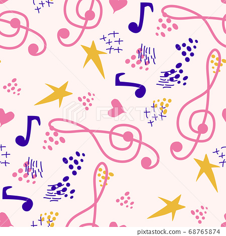 Abstract music notes seamless pattern background. 68765874