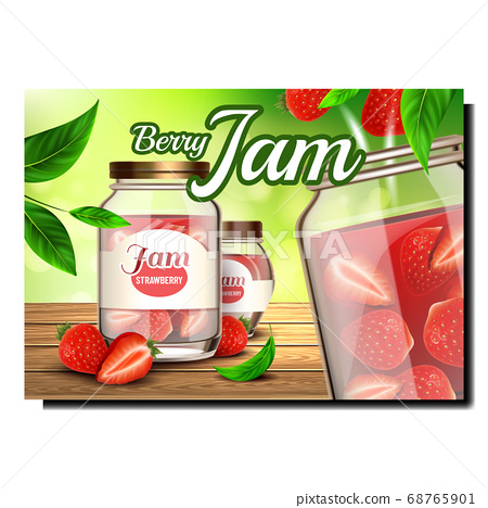 Berry Jam Food Creative Promotional Banner Vector 68765901