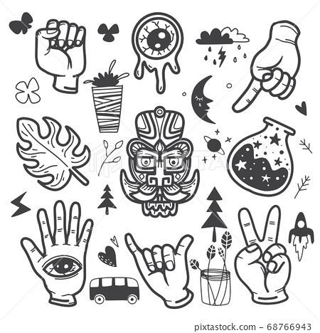 Stickers hand drawn doodle  tattoo style 68766943