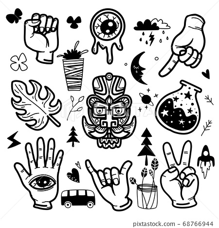 Stickers hand drawn doodle  tattoo style 68766944