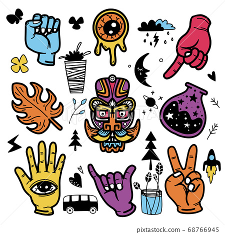 Stickers hand drawn doodle  tattoo style 68766945