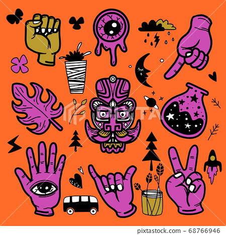 Stickers hand drawn doodle  tattoo style 68766946