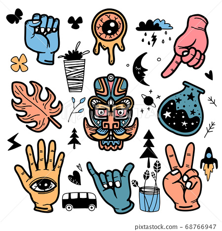 Stickers hand drawn doodle  tattoo style 68766947