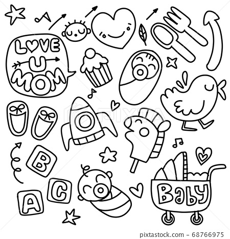 Sticker icons hand drawn doodle  ,children and 68766975