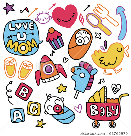 Sticker icons hand drawn doodle  ,children and 68766979