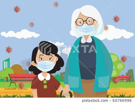 Vector Illustration of  children wear a medical 68766996