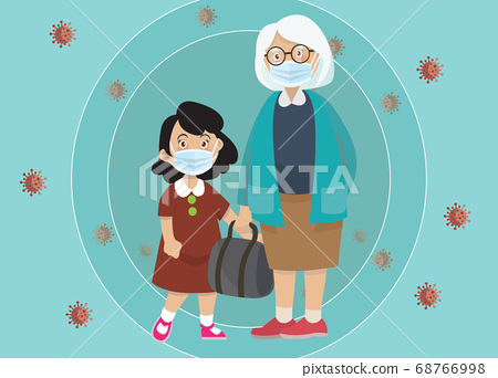 Vector Illustration of  children wear a medical 68766998