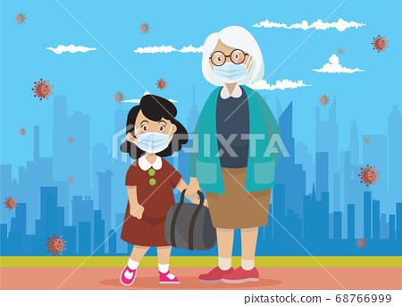 Vector Illustration of  children wear a medical 68766999