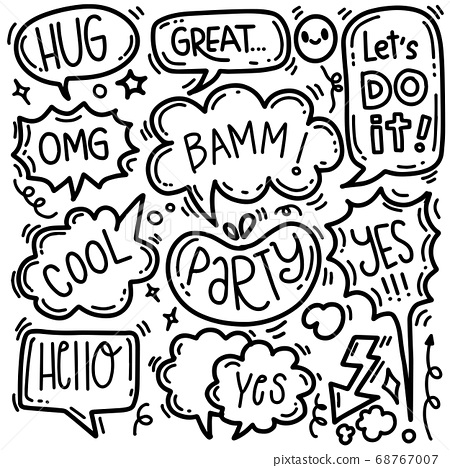 Hand drawn background set of cute speech bubble 68767007