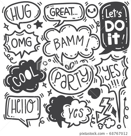 Hand drawn background set of cute speech bubble 68767012