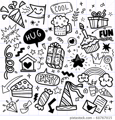 Hand drawn party doodle happy birthday ornaments 68767015