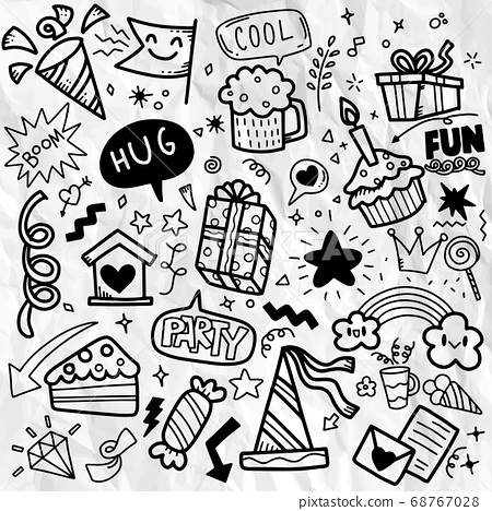 Hand drawn party doodle happy birthday ornaments 68767028