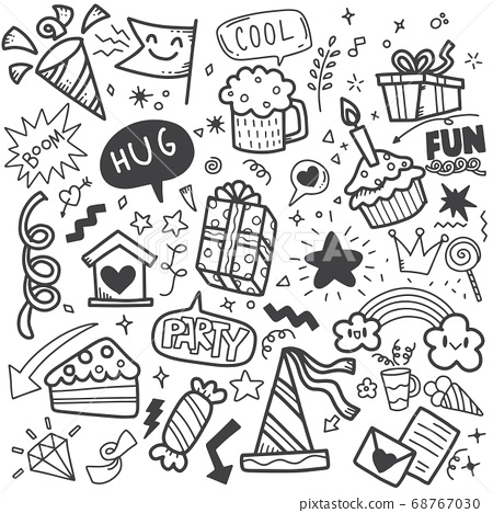 Hand drawn party doodle happy birthday ornaments 68767030
