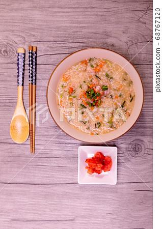 Korean food octopus shrimp vegetables porridge 68767120