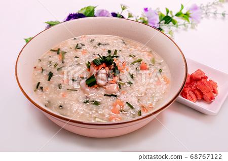 Korean food octopus shrimp vegetables porridge 68767122