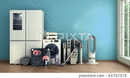 Modern home appliances in empty room commerce or 68767876