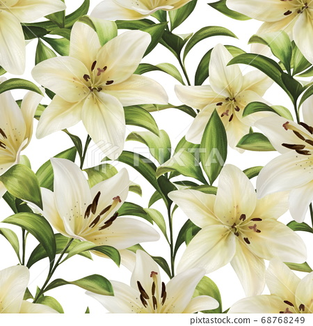 Beautiful seamless pattern with white lilies flowers 68768249