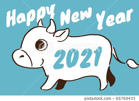 2021 년 소띠 연하장 블루 68768435