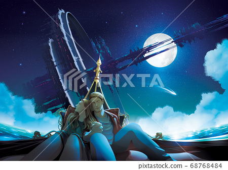 Vector Illustration featuring a couple having time together in a gondola boat at night with the massive futuristic structure that orbiting around the earth in space at the background 68768484