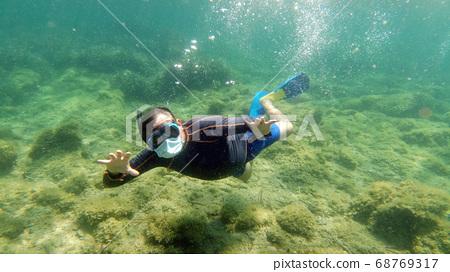 snorkelist diver with virus mask 68769317
