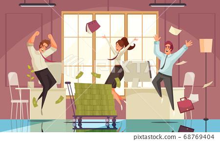 Joyful Jumping People Background 68769404